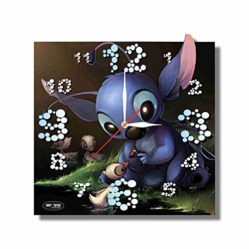 FBA Lilo and Stitch 11.8'' Handmade Art Wall Clock - Get unique décor for home or office – Best gift ideas for kids, friends, parents and your soul mates - made of plastic - Disney Plastic Clock
