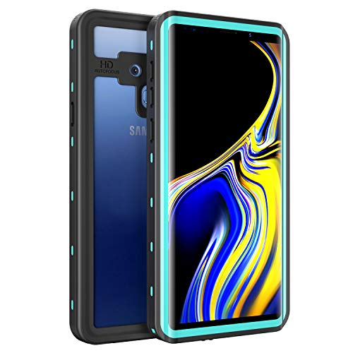 Waterproof Case for Samsung Galaxy Note 9, Fansteck IP68 Waterproof/Snowproof/Shockproof/Dirtproof, Fully Sealed Underwater Protective Cover for Samsung Galaxy Note 9 (6.4-inch-Black/Aqua Blue)