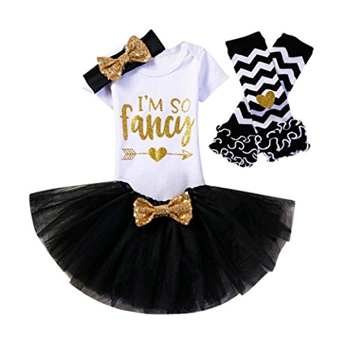 PENATE Baby Girl Skirt Set 5 Pcs Soft Cotton Jumpsuit+Skirt+2xLeggins+Headband (Black, 12M) (Newborn Navy Old)