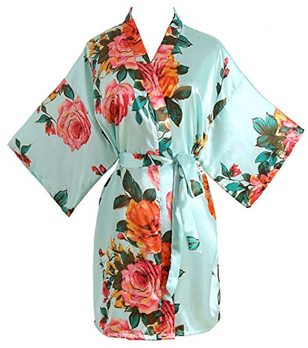 Peony Floral Silk Kimono Robe Bridal Bridesmaid Robes Dressing Gown for Women Light Blue