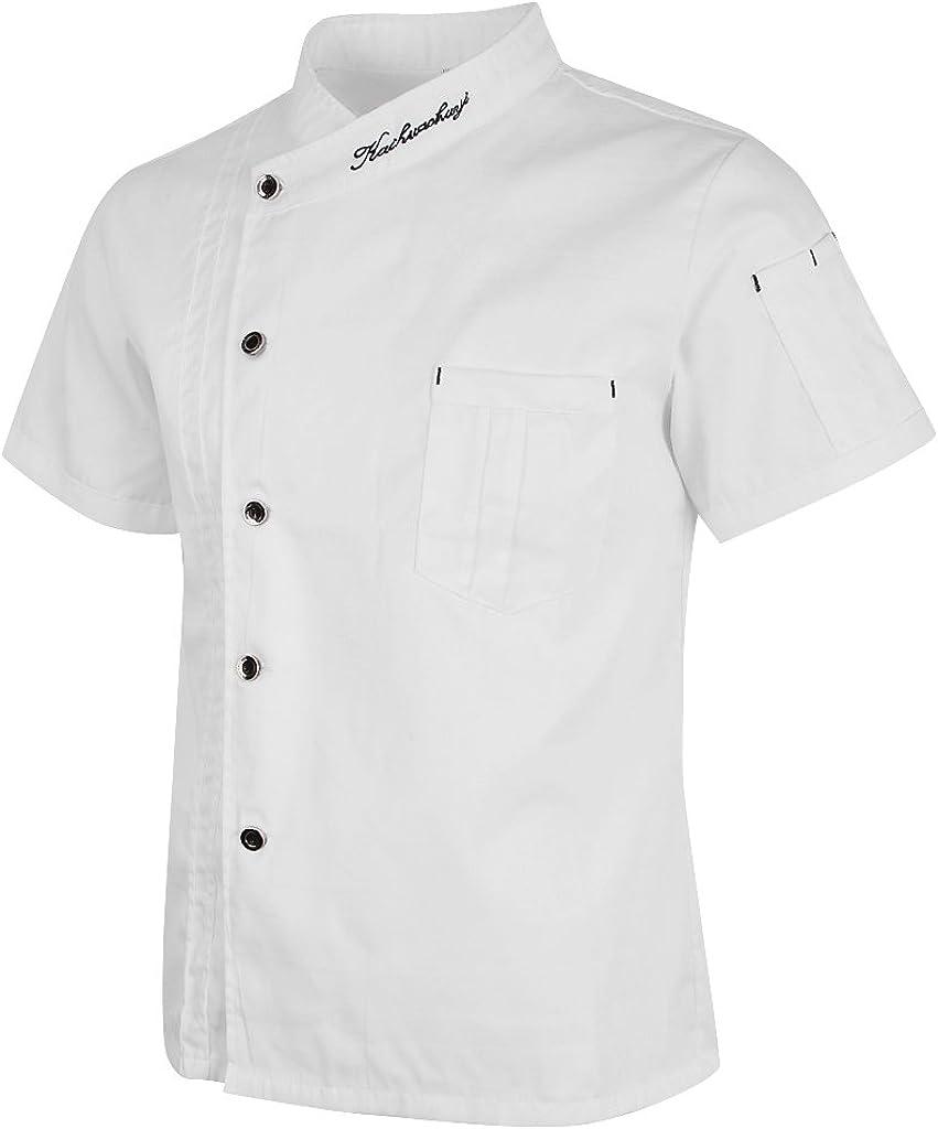 Baoblaze Chaqueta de Chef Unisex Capa Camisa Mangas Cortas Cocina ...