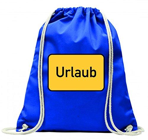 Turnbeutel FERIEN- SOMMER- WINTER- HERBST- FRÜHLING- URLAUB- BEGIN- ANFANG- ENTSPANNUNG- ARBEIT- ORTSSCHILD- STADT GRENZE mit Kordel - 100% Baumwolle- Gymbag- Rucksack- Sportbeutel Blau