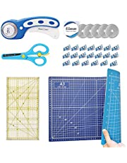 CESTLAVIE 45mm Rotary Cutter Set Quilting Kit with 5 Replacement Blades, A3 2 Color-sided Cutting Mat, Craft Knife, Acrylic Ruler and Craft Clips, Ideal Quilting Tool for Sewing, Paper, Patchworking (Blue)