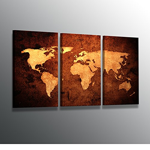 World map large modern stretched and framed giclee canvas prints world map large modern stretched and framed giclee canvas prints artwork brown abstract seascape pictures paintings gumiabroncs Images