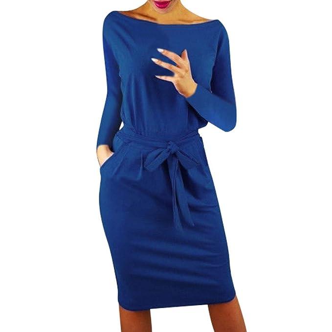 LUNULE Vestidos mujer Vestidos Fiesta de Mujer, Elegante Vestido Casual de Manga Larga con Bolsillos Mini Vestido de Fiesta de Noche para Mujer: Amazon.es: ...