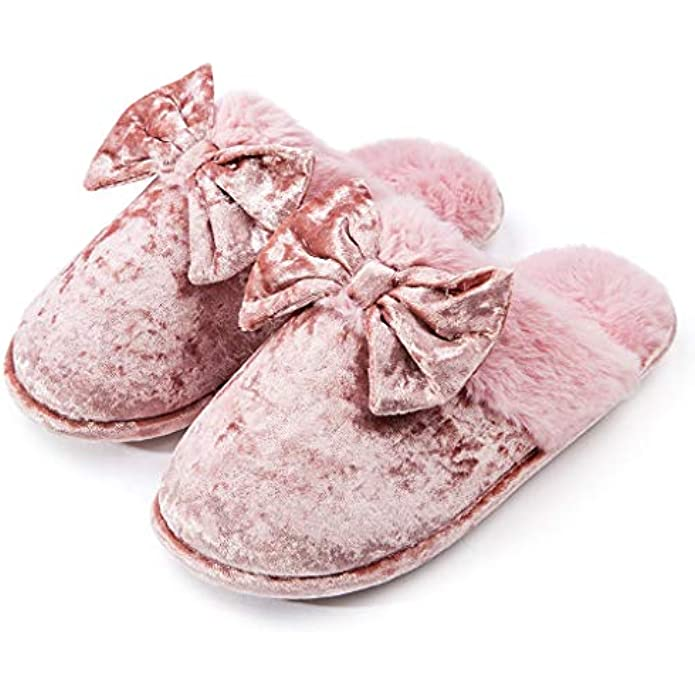 DL Womens-House-Slippers-Memory-Foam, Fluffy Velvet Slip on Scuff Slippers for Women Indoor, Warm Furry Ladies Bedroom Slippers with Non Slip Outsole Pink Gray