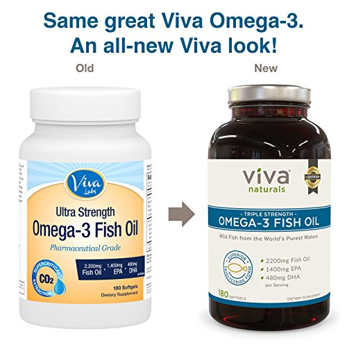 viva naturals omega 3 fish oil supplement 180 softgels