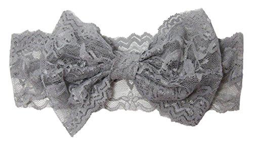 (Wholesale Princess Lace Bow Headband - Gray)