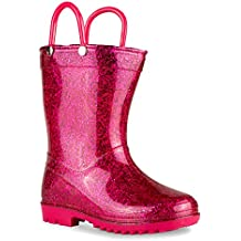 Chillipop Rainboots for Girls & Toddlers with Glitter Design & Pull Handles
