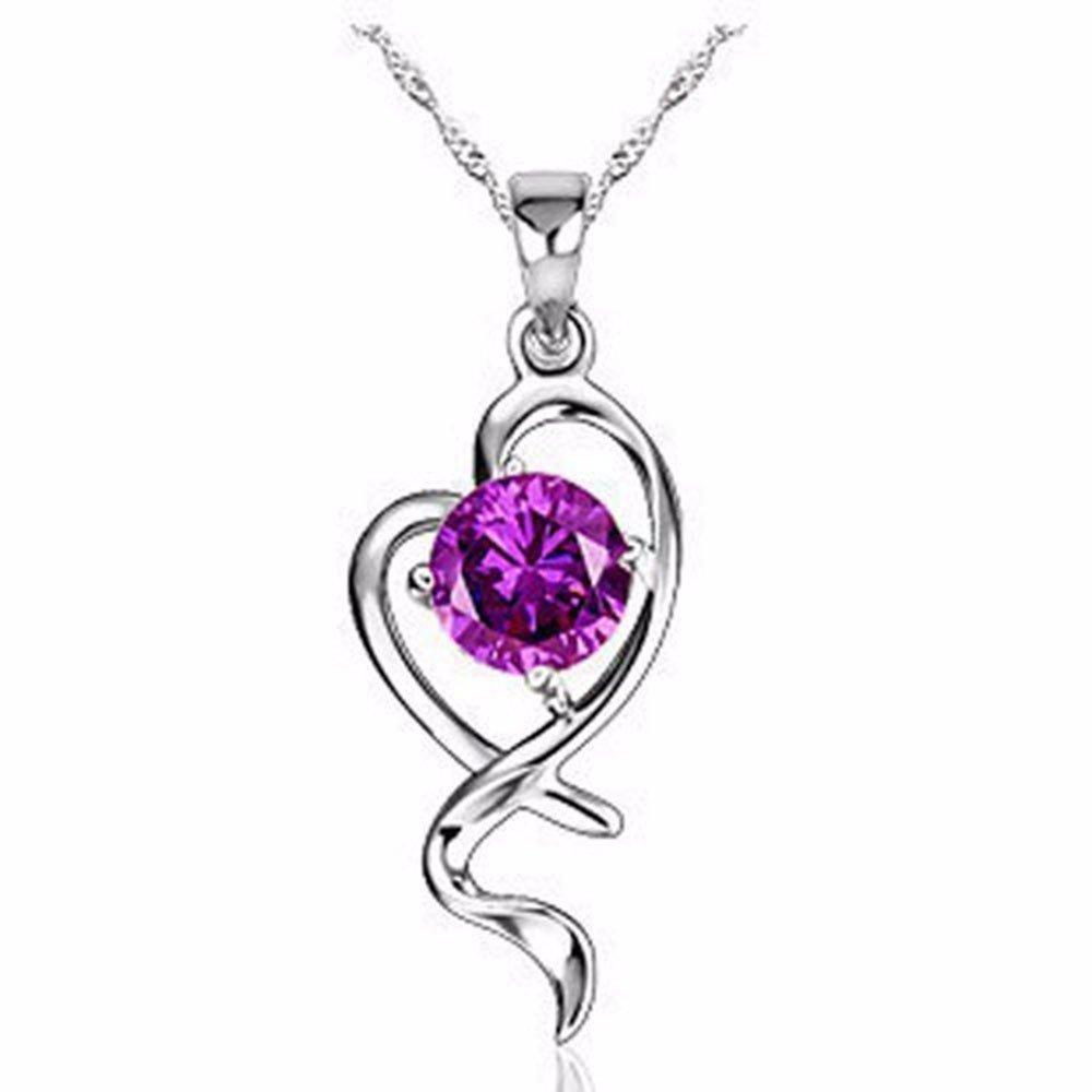 KUNQ-Joyas/Collar Colgante De Plata Pura Dream Golden Garden White Purple Violeta