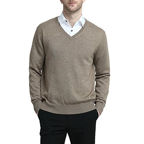 - Kallspin Men's Cashmere Wool Blend Relaxed Fit V-Neck Sweater Pullover (M, Coffee)
