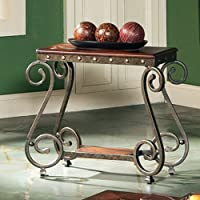 Ellery Chairside End Table w Nailhead trim Decor