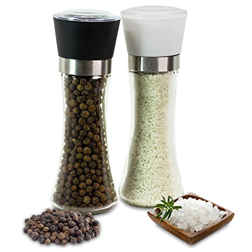 Stylish Salt & Pepper Grinder Set by Kitchenware Kingdom - Unique Glass Body with 3 Coarseness Adjustments - Contemporary Design Salt & Pepper Mill – BPA Free Shakers + Free Recipe eBook