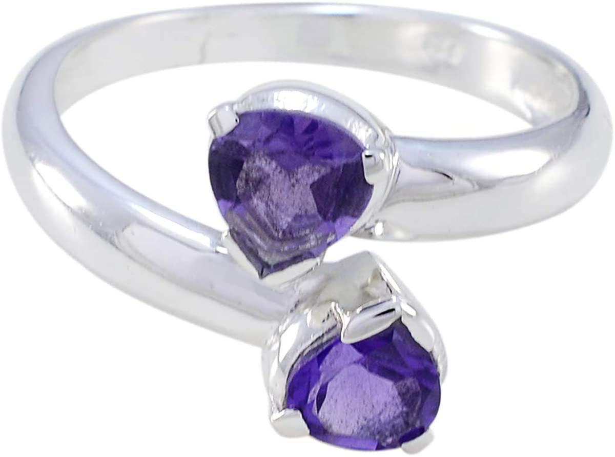 Beautiful Pear Shape Amethyst With Diamond 925 Silver Ring February Birthday Gift/' Beautiful Amethyst Silver Ring /' Gift For Girl And Women/'