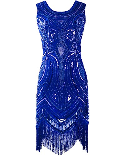 [KAYAMIYA Women's 1920S Sequined Beaded Fringe Gatsby Flapper Dress Blue S] (Blue Flapper Dress)