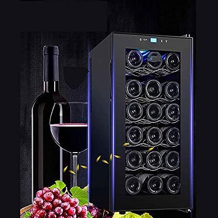 Vinoteca,Mini Nevera,Nevera para Vinos De Compresor Independiente Refrigerador con Silent Operación Temperatura Regulable Entre 11 Y 18 °C con Iluminación LED(Capacity: 12/18 Bottles)