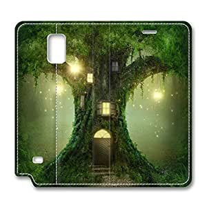 Brian114 Samsung Galaxy Note 4 Case, Note 4 Case - Samsung Note 4 Protective and Light Carrying Cover Green Tree House Non-Slip Leather Case for Samsung Galaxy Note 4
