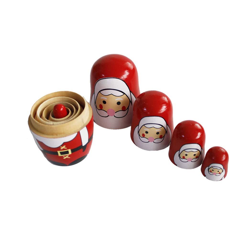 Snowman+Santa Claus OJIN 5pcs Carino Natale Fatto a Mano Bambola di nidificazione Russa Set di Giochi Autentici accatastamento in Legno Collezione di Bambole Decorazione