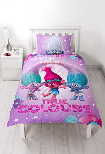 Large Single Bed (Trolls 'glow' Panel Single Duvet Set - Large Print Design)