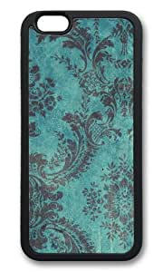 iPhone 6 Case,VUTTOO iPhone 6 Cover With Photo: Grunge Teal Damask For Apple iPhone 6 4.7Inch - TPU Black