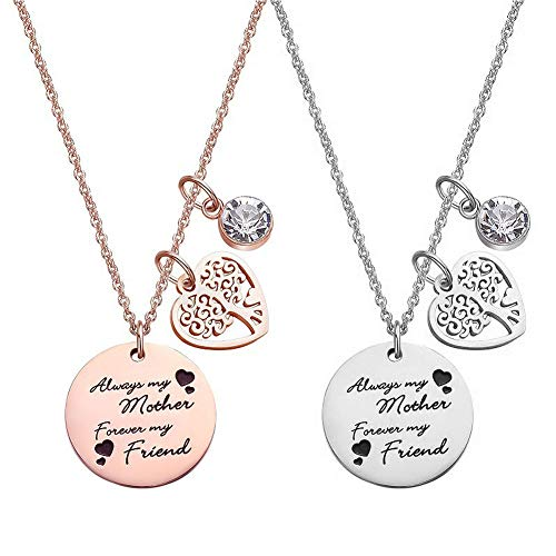 Pophylis Family Tree Necklace with Birthstone - Stainless Steel Tree of Life Necklace Special Jewelry Thanksgiving Day Gift for Women, for Mom, Sister, Daughter