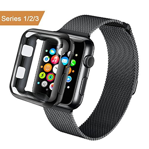 AdMaster Apple Watch Band 42mm Stainless Steel Metal Replacement Wristband Milanese Sport Strap and Apple Watch Screen Protector for Apple Watch Series 3 2 1, Black - Edge Metal Bands