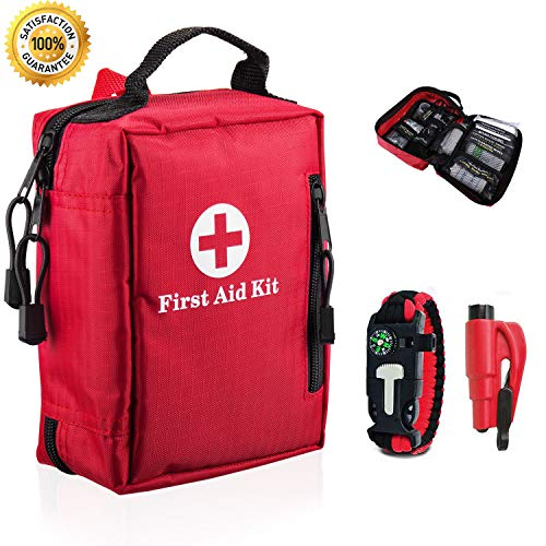 First Aid Kit Outdoor Compact Mini Lightweight Emergency kit Soft Red Portable Waterproof Zippered Supplies Medical kit for Emergencies at Home, Travel, Car, Camping, Workplace, Hiking, Biking, Sports