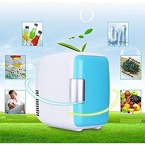 Mini nevera portátil de 4 litros, 12 V, 220 V, también calienta la comida, para uso en casa, en el coche, barco, azul claro