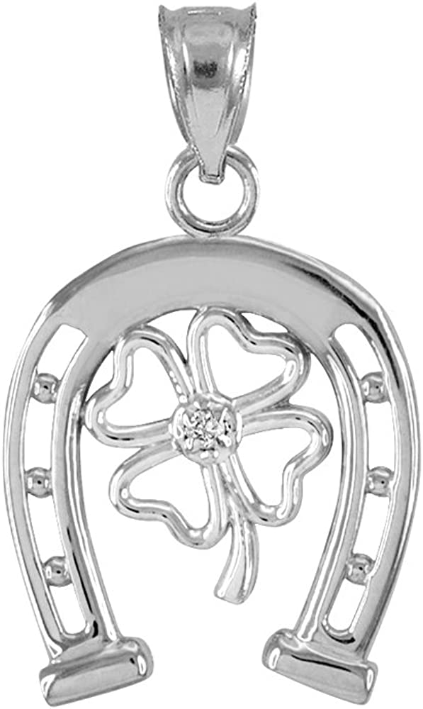 10k White Gold Lucky Horseshoe with Irish 4-Leaf Clover Diamond Pendant