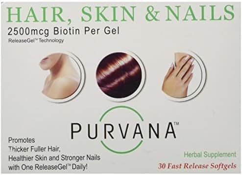 Purvana Hair, Skin & Nail (Biotin) Softgels, 30 ct by Purvana