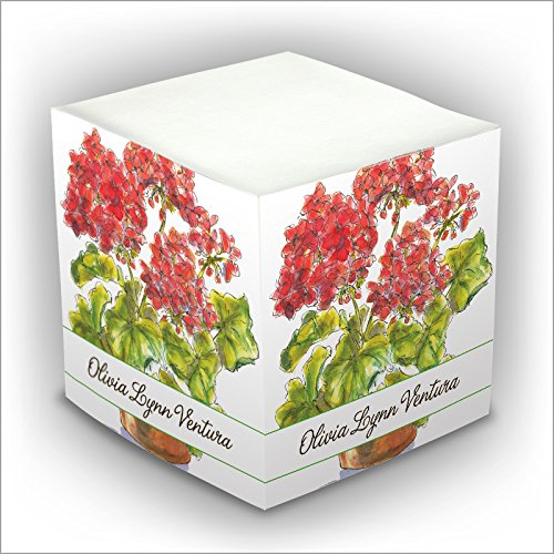 ick Memo Cube - Red Flowers - 2807_27 (Personalized Memo Cube)