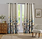 Cheap MYSKY HOME Floral Design Print Grommet top Thermal Insulated Faux Linen Room Darkening Curtains, 52 x 84 Inch, Blue, 1 Panel