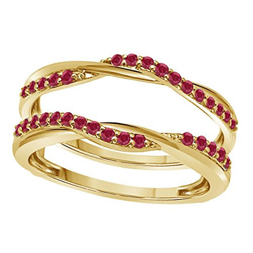 Silver Gems Factory 14K Yellow Gold Finish Delicate Bypass Infinity Style Vintage Wedding Ring Criss Cross Infinity Ring Guard Enhancer with CZ Red Ruby (1/2 ct tw) ()