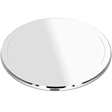 TOZO Wireless Charger Upgraded, Ultra Thin Aviation Aluminum [Sleep-Friendly] FastCharging Pad for iPhone Xs, XR, Xs Max, X, 8 Plus Samsung Galaxy S8-S10+, Note 8 9(Silver) -NO AC Adapter