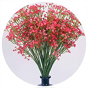 58cm Rustic Artificial Baby Breath Flower Wedding Flower Decor for Home Party gypsophila 21 pcs,Red 107