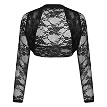 Womens Plus Size Long Sleeve Floral Lace Crochet Bolero Shrug Cardigan Crop Top