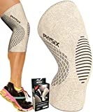 Physix Gear Knee Support Brace - Premium Recovery & Compression Sleeve for Meniscus Tear, ACL, MCL Running & Arthritis - Best Neoprene Stabilizer Wrap for Crossfit, Squats & Workouts (Single Beige M)