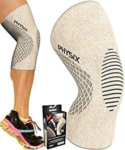 Physix Gear Knee Support Brace - Premium Recovery & Compression Sleeve For Meniscus Tear, ACL, MCL Running & Arthritis - Best Neoprene Stabilizer Wrap for Crossfit, Squats & Workouts - For Men & Women, (Single) Beige & Black, X-LARGE - 22.5in - 24in (Measured 4in above knee)