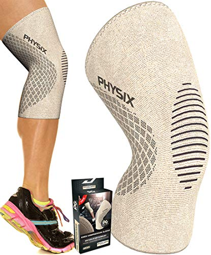 Physix Gear Knee Support Brace – Premium Recovery & Compression Sleeve for Meniscus Tear, ACL, MCL Running & Arthritis – Best Neoprene Stabilizer Wrap for Crossfit, Squats & Workouts (Single Beige M)