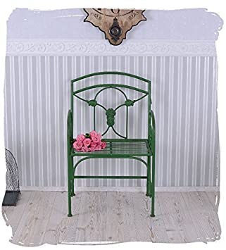 Gartenstuhl Shabby Chic Eisenstuhl Vintage Jugendstil Sessel Grün PALAZZO  EXCLUSIV