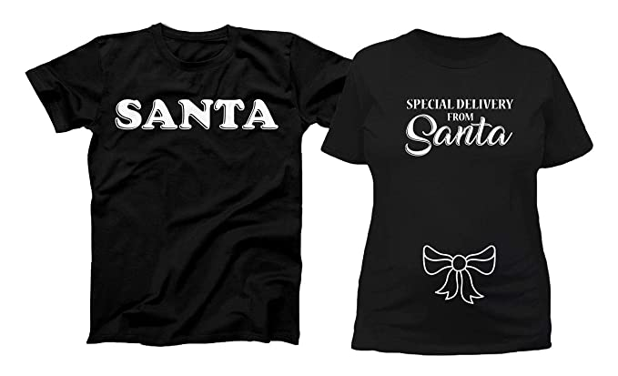 dacf8fcdb8d43 Teepinch Special Delivery from Santa Funny Christmas Matching Couples  Tshirts Holiday Pregnancy Reveal Shirts TEP-
