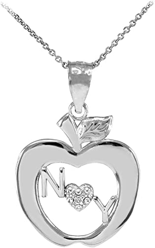 Solid 14k White Gold Apple Heart Love Open Pendant Necklace