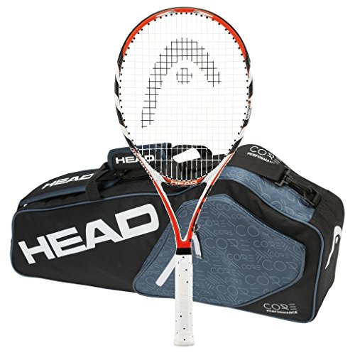 (HEAD Microgel Radical Oversize OS - Strung with 3 Racquet Tennis Bag (4-1/2))