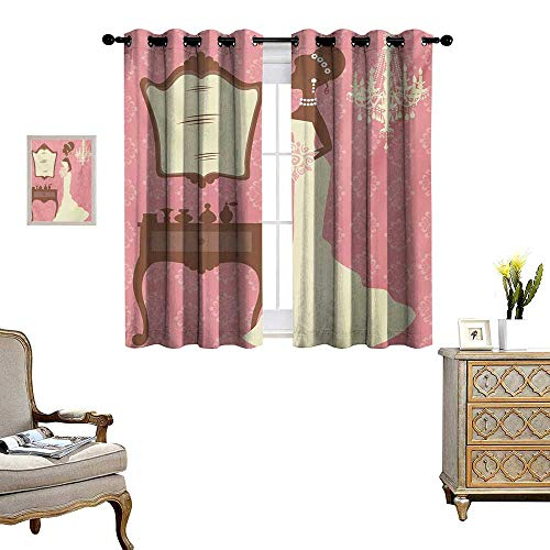 Bridal Shower Window Curtain Fabric Wedding Dress with Flowers and Vanity Swirl Backdrop Celebration Drapes for Living Room W63 x L63 Coral Brown and White (Dora The Explorer Vanity)