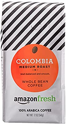 AmazonFresh Colombia Whole Bean Coffee, Medium Roast, 12 Ounce from AFS Brands LLC