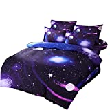 Cliab Galaxy Bedding Twin Size Purple Blue for Girls Kids Boys Outer Space Duvet Cover Set 5 Pieces(Fitted Sheet Included)