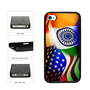 India and USA Mixed Flag Plastic Phone Case Back Cover Apple iPhone 4 4s wangjiang maoyi