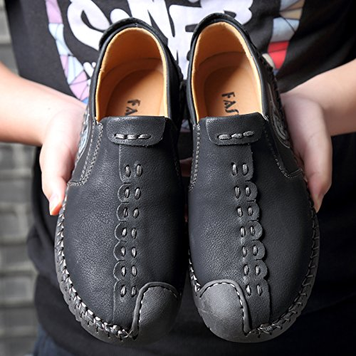 Men's Loafers Slip SPEEDEVE Handmade Black Driving Casual Shoes Leather Shoes On Flats Retro C1axSqZwxd