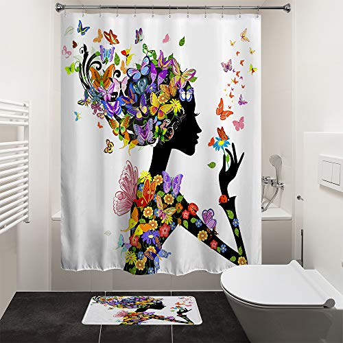 HIYOO Bathroom Art Decorative Polyester Fabric Waterproof Bath Shower Curtain, Colorful Butterfly Fairy Girl Design, High-Definition Image, with Hooks 72
