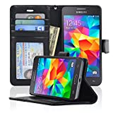 Samsung Grand Prime Wallet Folio Leather Case with Five Card Pockets & Money Slot, Removable Strap - Navor (Black)